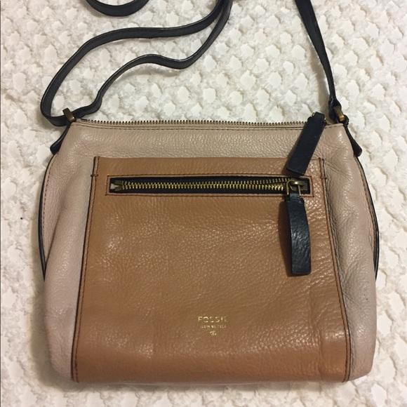 Fossil Handbags - FOSSIL Blush Beige & Tan Cross Body Bag